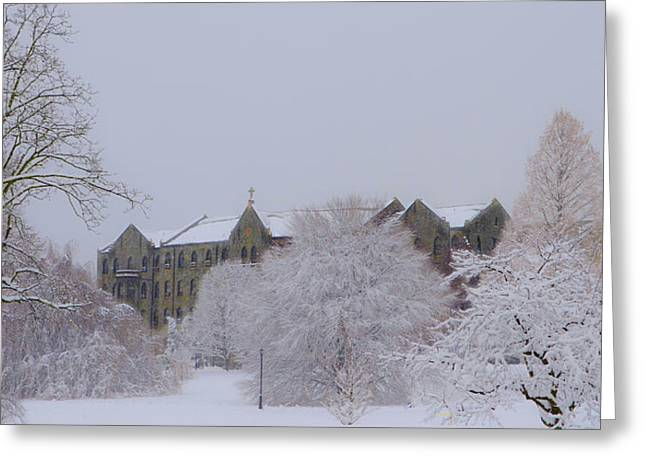 Radnor Greeting Cards - Villanova in the Snow Greeting Card by Bill Cannon