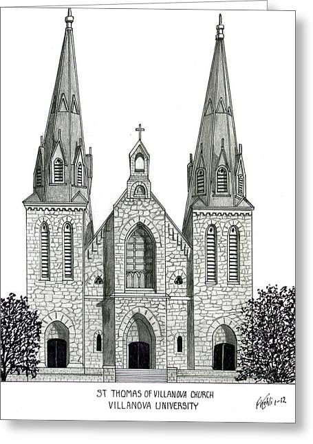 Pen And Ink Framed Prints Greeting Cards - Villanova University Greeting Card by Frederic Kohli