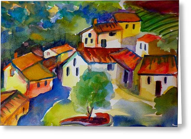 Chianti Greeting Cards - Villas in the Chianti Region SOLD ORIGINAL  Greeting Card by Therese Fowler-Bailey