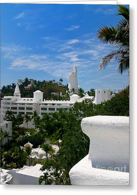 Apartments Greeting Cards - Villas on a hillside in Manzanillo Mexico Greeting Card by Amy Cicconi