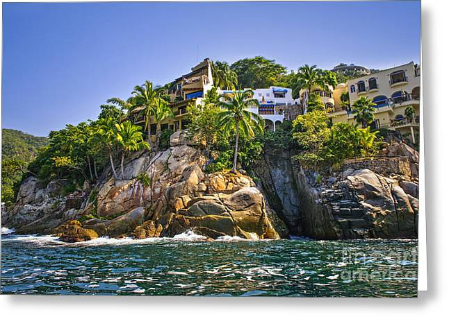 Building. Home Greeting Cards - Villas on rocks Greeting Card by Elena Elisseeva