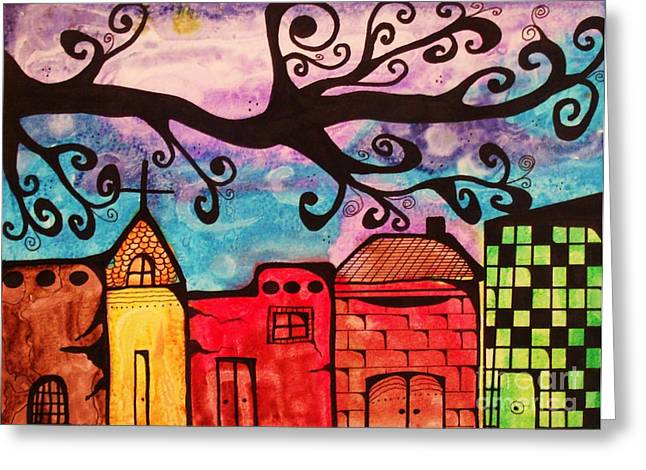 Small Towns Mixed Media Greeting Cards - Ville Greeting Card by Donda Todd