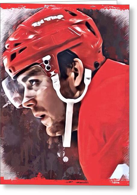 Professional Ice Hockey Greeting Cards - Ville Leino Red Wings Portrait Greeting Card by Scott Wallace