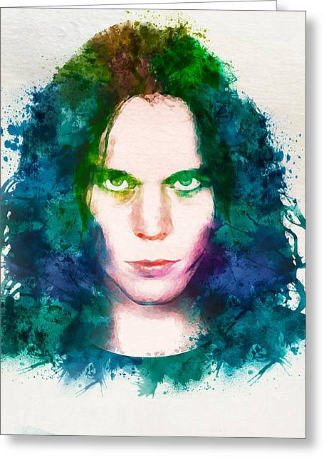 Metal Music Greeting Cards - Ville Valo watercolor Greeting Card by Marian Voicu