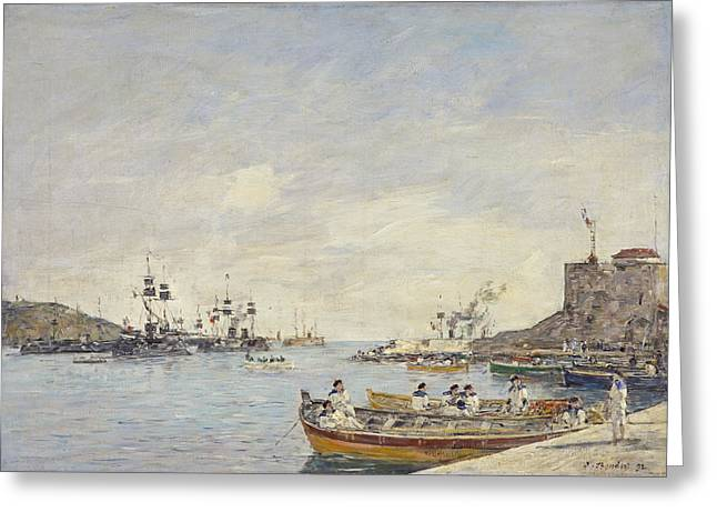 Sailors Greeting Cards - Villefranche Harbour, 1892 Oil On Canvas Greeting Card by Eugene Louis Boudin