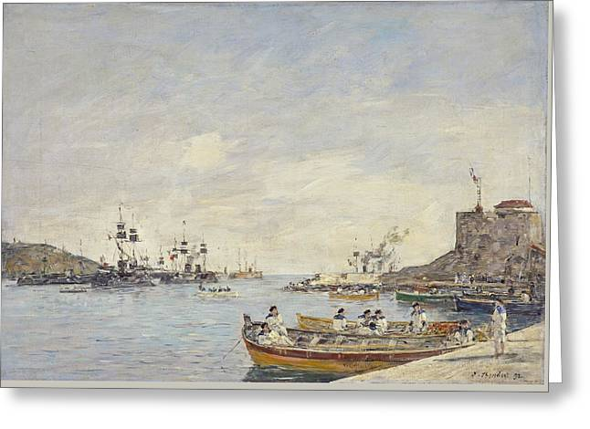 Villefranche Harbor, 1892  Greeting Card by Eugene Louis Boudin
