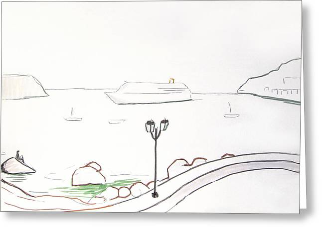 Sketchbook Greeting Cards - Villefranche Greeting Card by Michael Koch