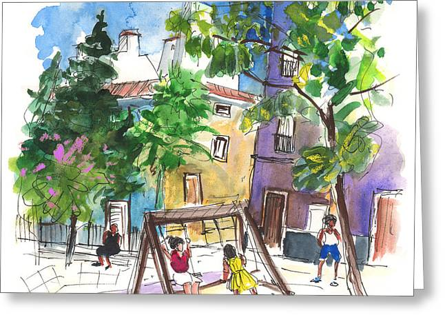 Town Square Drawings Greeting Cards - Villena 07 Greeting Card by Miki De Goodaboom