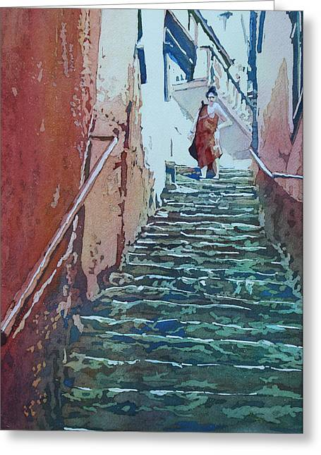 Armitage Greeting Cards - Villiage Stairs Greeting Card by Jenny Armitage