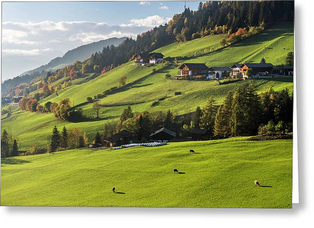 Villnoess Valley (val De Funes Greeting Card by Martin Zwick