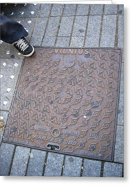 Lithuania Greeting Cards - Vilnius Lithuania Manhole Cover Greeting Card by Mary Lee Dereske