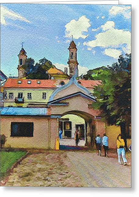 Lithuania Greeting Cards - Vilnius Monastery Gate Greeting Card by Yury Malkov