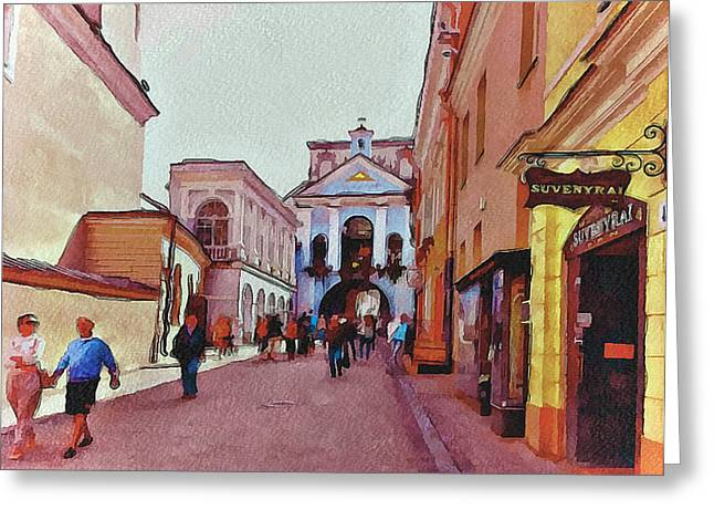 Live Art Greeting Cards - Vilnius Old Town 13 Greeting Card by Yury Malkov