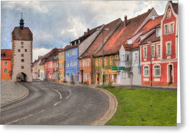 Oberpfalz Greeting Cards - Vilseck Marktplatz Greeting Card by Shirley Radabaugh