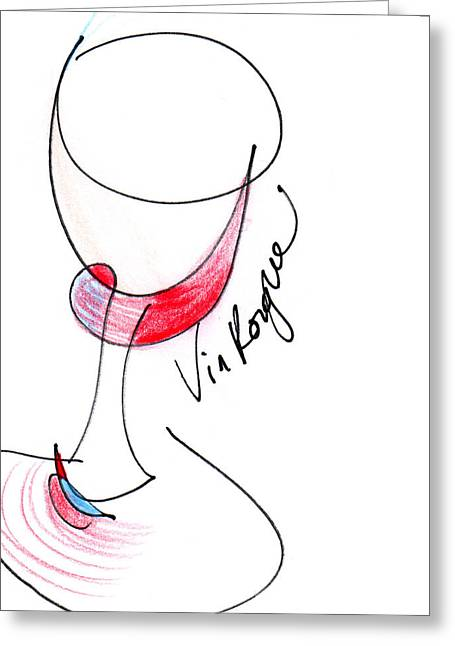 Red Wine Prints Greeting Cards - Vin Rogue Greeting Card by Anna Elkins