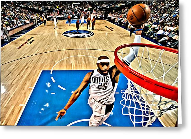 Slamdunk Greeting Cards - Vince Carter Dunking Greeting Card by Florian Rodarte