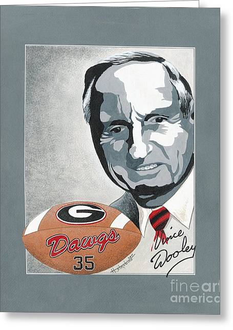 Vince Paintings Greeting Cards - Vince Dooley Greeting Card by Herb Strobino