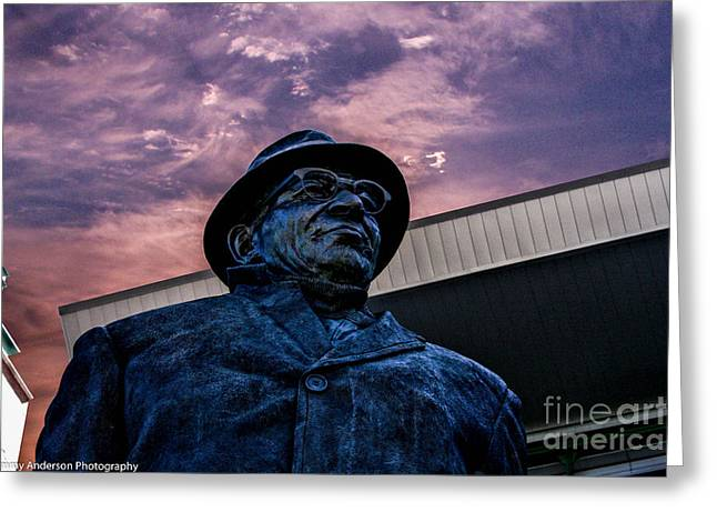 Lambeau Field Greeting Cards - Vince Keeping Watch Greeting Card by Tommy Anderson