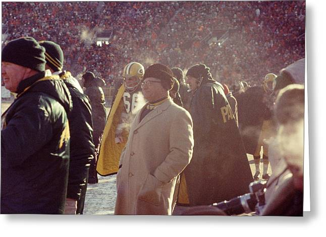 Vince Greeting Cards - Vince Lombardi From Sidelines Greeting Card by Retro Images Archive