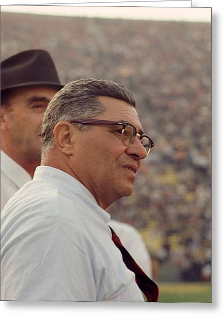 Vince Greeting Cards - Vince Lombardi Coaching Greeting Card by Retro Images Archive