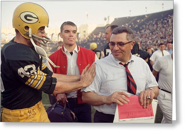Vince Greeting Cards - Vince Lombardi Congratulated Greeting Card by Retro Images Archive