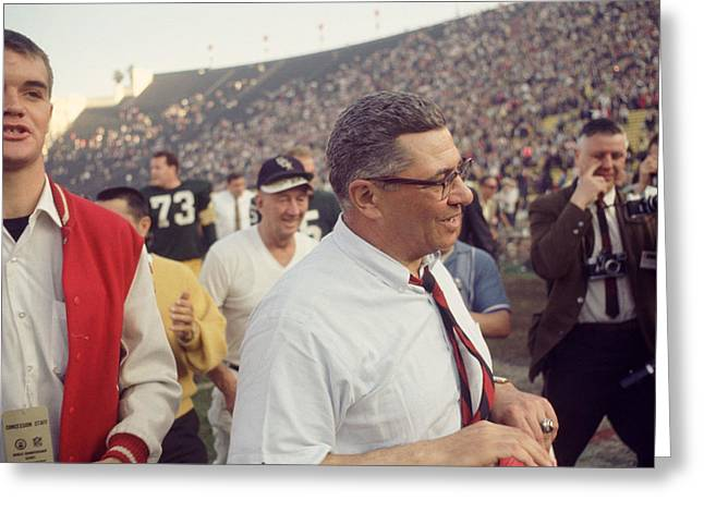 Vince Greeting Cards - Vince Lombardi  Greeting Card by Retro Images Archive