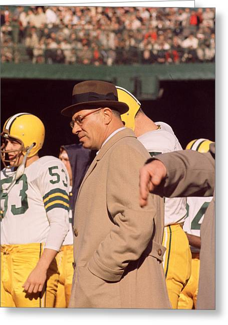 Vince Greeting Cards - Vince Lombardi In Trench Coat Greeting Card by Retro Images Archive