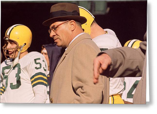 Vince Lombardi In Trench Coat Greeting Card by Retro Images Archive