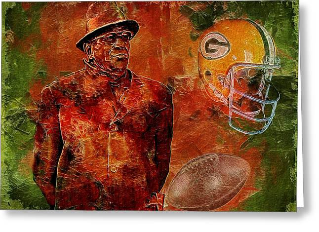 Vince Digital Greeting Cards - Vince Lombardi Greeting Card by Jack Zulli