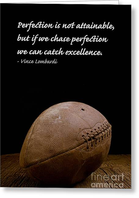 Football Photographs Greeting Cards - Vince Lombardi on Perfection Greeting Card by Edward Fielding