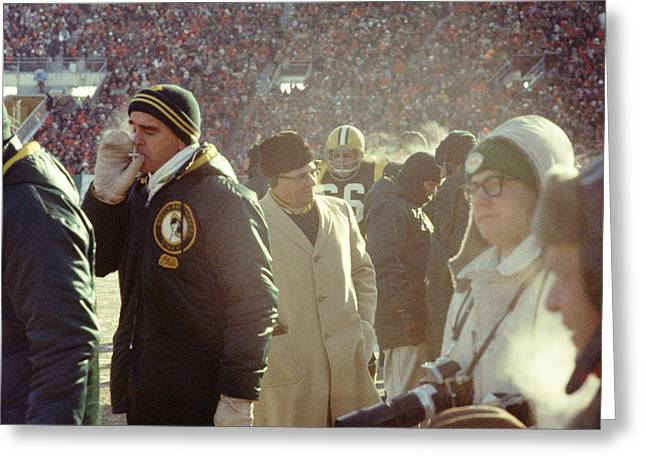 Vince Greeting Cards - Vince Lombardi On The Sideline Greeting Card by Retro Images Archive