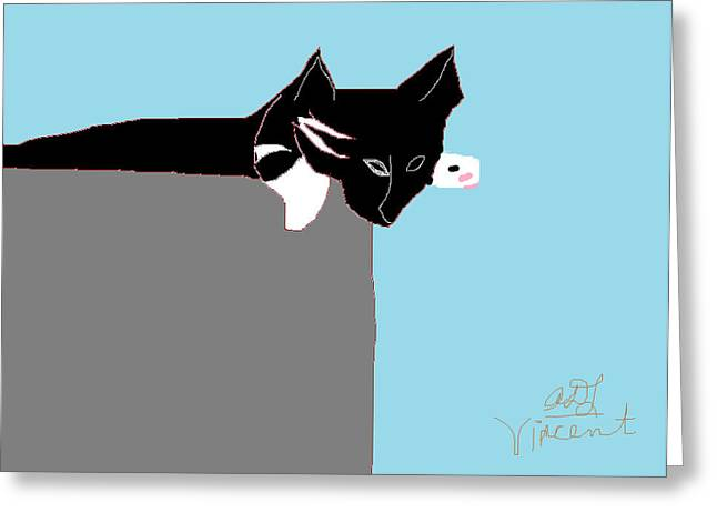 Baby Kitten Art Drawings Greeting Cards - Vincent Greeting Card by Anita Dale Livaditis