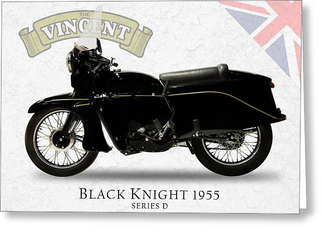 1955 Greeting Cards - Vincent Black Knight 1955 Greeting Card by Mark Rogan