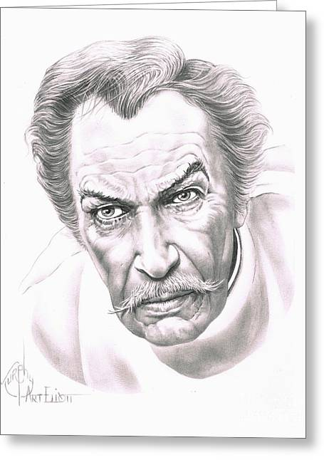 Horror Drawings Greeting Cards - Vincent Price Greeting Card by Murphy Elliott