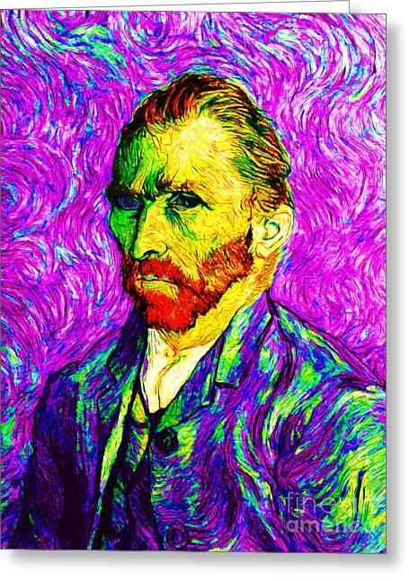 Mustaches Digital Greeting Cards - Vincent Revisited 20140118v2 Greeting Card by Wingsdomain Art and Photography
