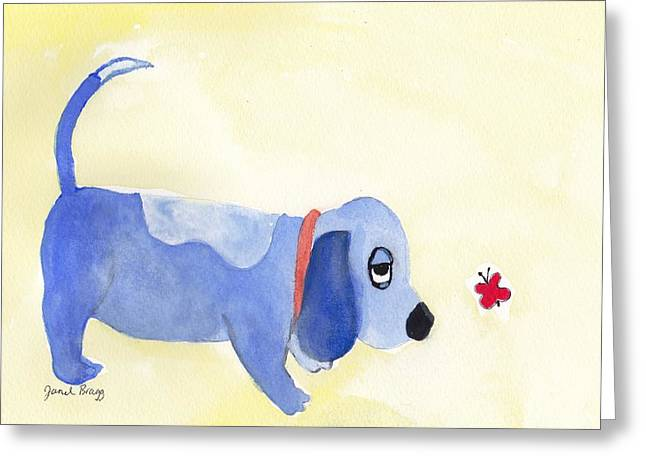 Basset Drawings Greeting Cards - Vincent the Dog with Butterfly Greeting Card by Janel Bragg