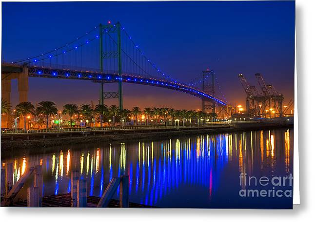 Nightscapes Greeting Cards - Vincent Thomas Bridge Greeting Card by Eddie Yerkish
