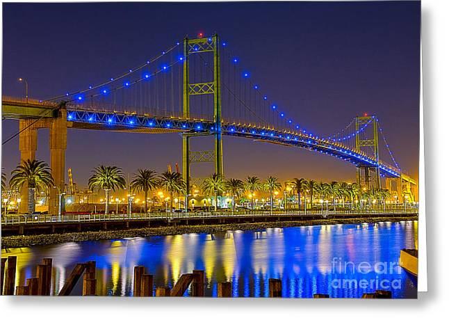 Vincent Thomas Bridge - Nightside Greeting Card by Jim Carrell
