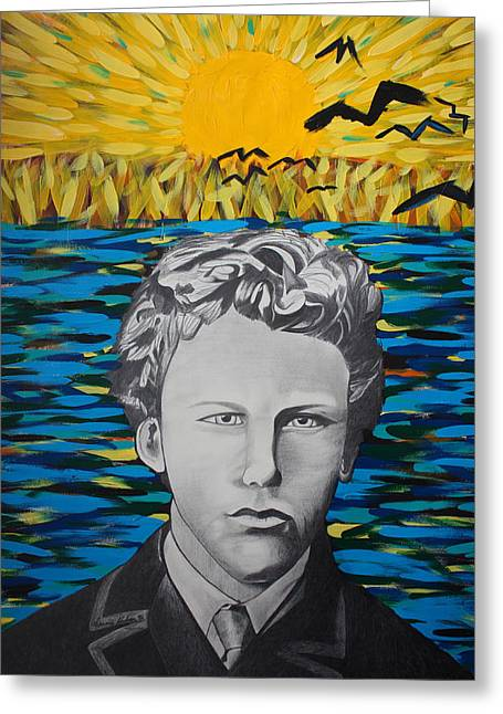 Van Gogh Style Greeting Cards - Vincent Van Gogh 17 years old Greeting Card by Dennis Nadeau