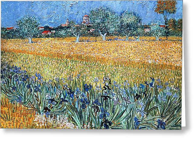 19th Century Photographs Greeting Cards - Vincent Van Gogh 1853-1890. Dutch Painter. Field With Flowers Near Arles. 1888. Van Gogh Museum Greeting Card by Bridgeman Images