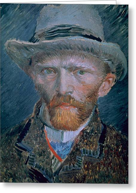 Vincent Van Gogh Self-portrait Bust With Brown Jacket And Gray Hat Greeting Card by Vincent Van Gogh