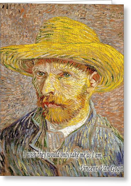 Self-portrait Photographs Greeting Cards - Vincent Van Gogh Quotes 6 Greeting Card by Andrew Fare