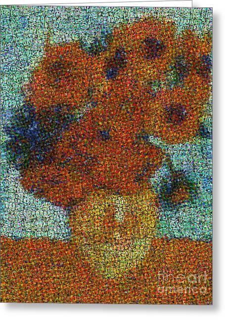 Gogh; Vincent Van Flowers Greeting Cards - Vincent Van Gogh Sunflowers 2.0 - V2 Greeting Card by Edward Fielding