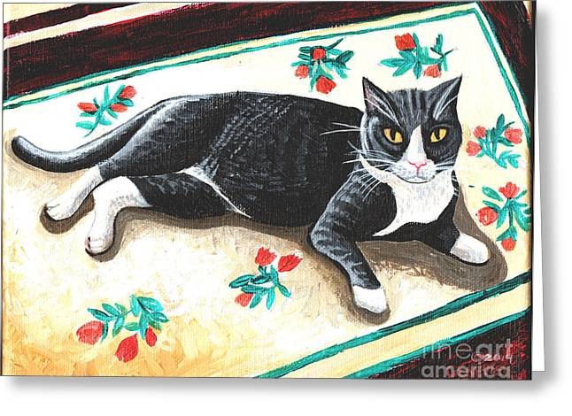 Animal Paw Print Greeting Cards - Vincent van HoopCat Greeting Card by Genevieve Esson
