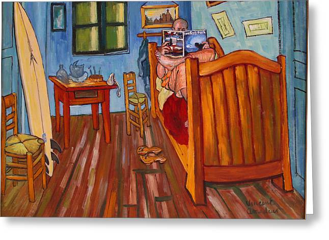 Interior Still Life Greeting Cards - Vincents bedroom in Arles for surfers-Amadeus series Greeting Card by Dominique Amendola