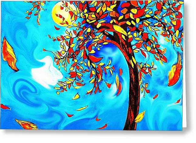 Van Gogh Style Greeting Cards - Vincents Tree Greeting Card by Melodye Whitaker