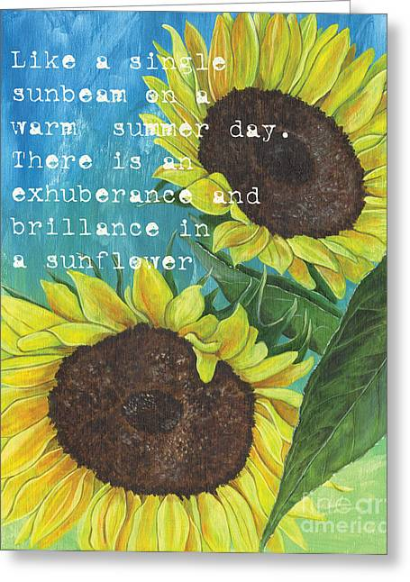 Yellow Sunflower Greeting Cards - Vinces Sunflowers 1 Greeting Card by Debbie DeWitt
