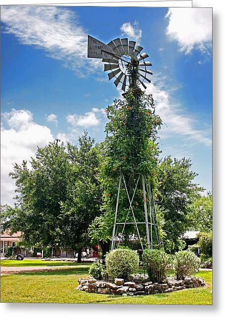 Old Western Photos Digital Art Greeting Cards - Vine Covered Windmill Gruene Texas Greeting Card by Linda Phelps