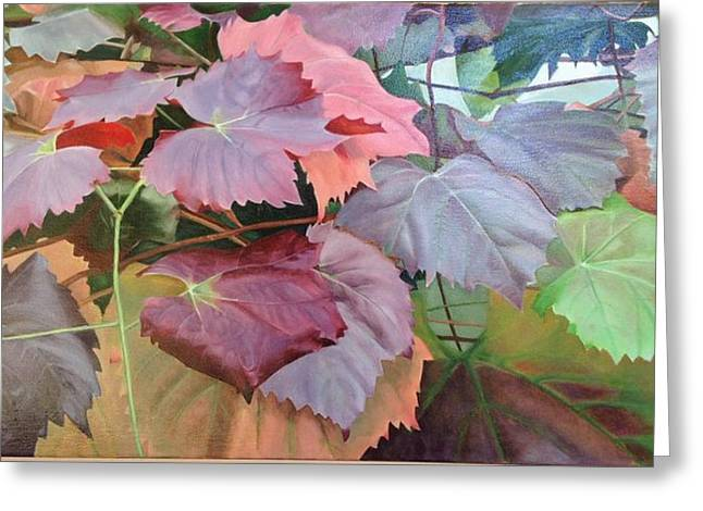Grapevine Leaf Paintings Greeting Cards - Vine Leaves Greeting Card by Deanne Salter