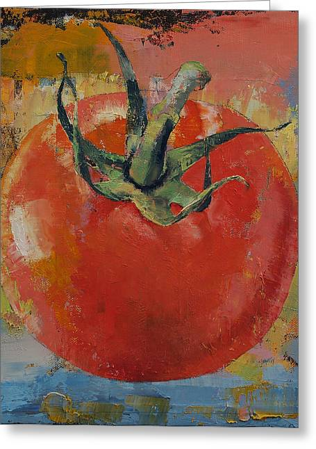 Nature Morte Greeting Cards - Vine Tomato Greeting Card by Michael Creese